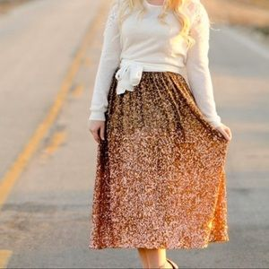LC Sequin Ombré Rose Gold MIDI Skirt